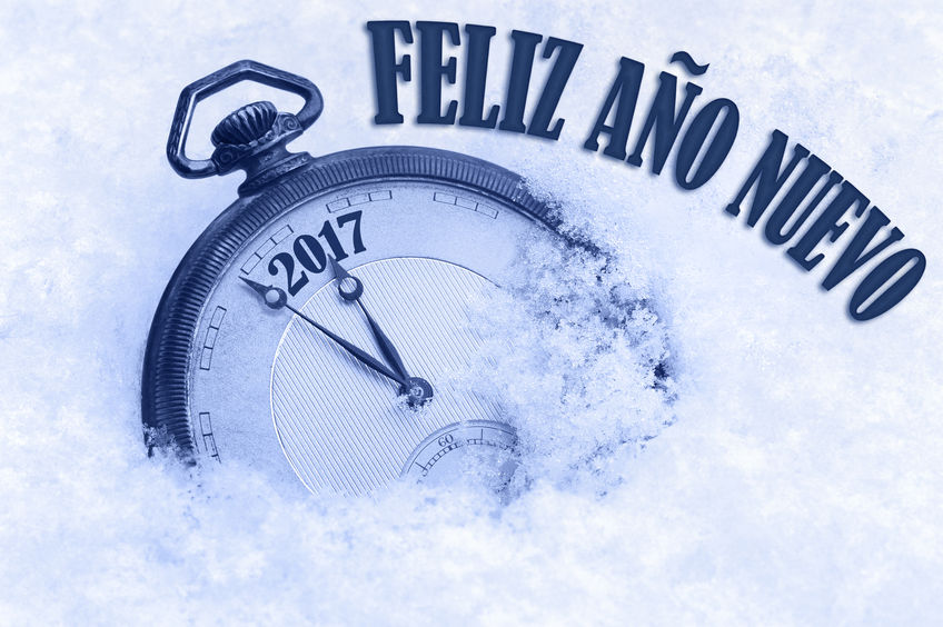 58323108 - 2017 Greeting, Happy New Year In Spanish Language, Feliz Ano Nuevo Text