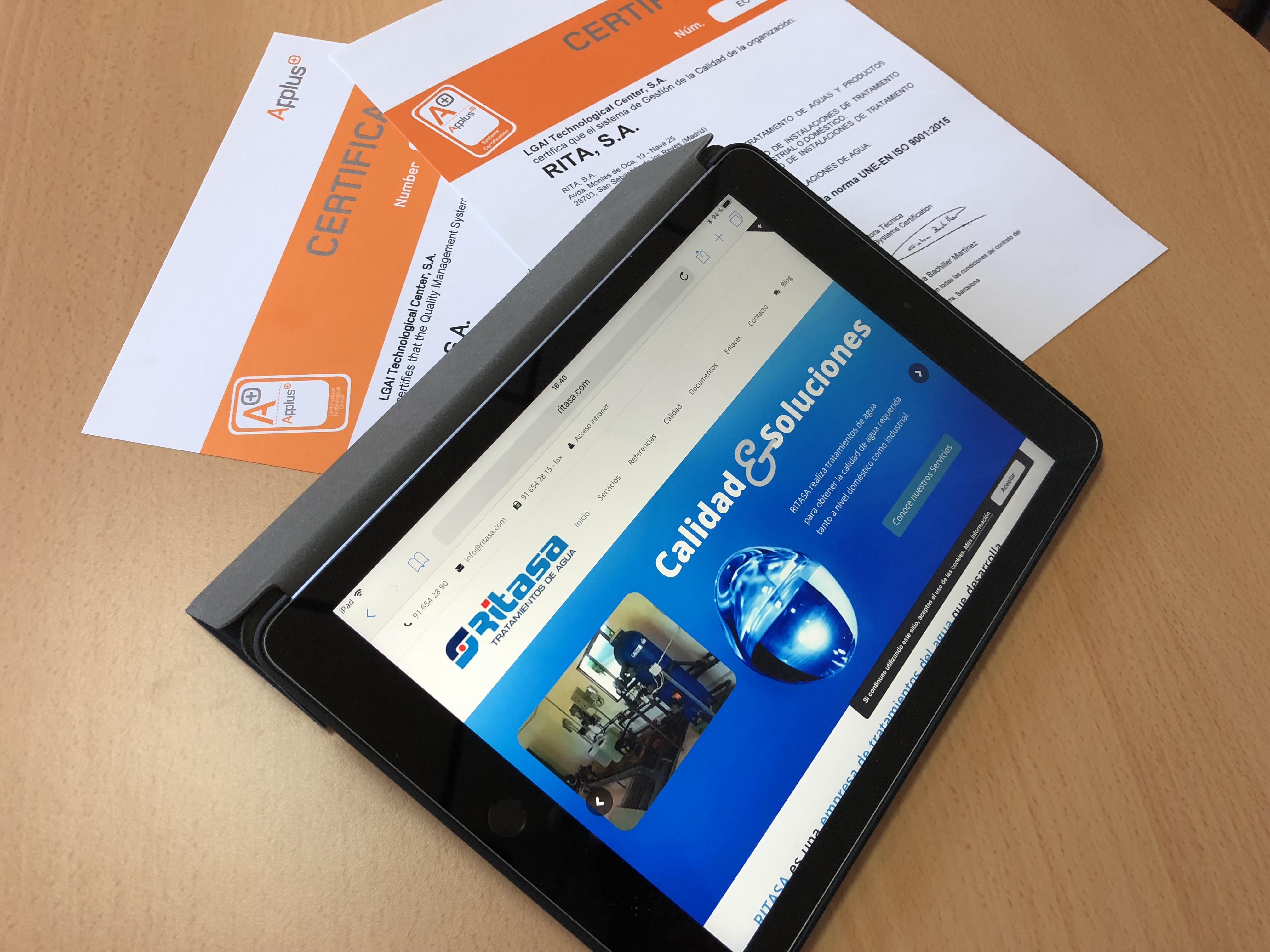 Certificado RITASA Conforme A La Nueva Norma De Calidad UNE-EN ISO 9001:2015 Incorporando El Tratamiento Antilegionella A Su Alcance Habitual De Tratamientos De Agua.
